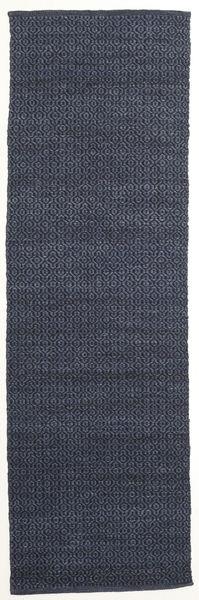 Alva - Sininen/Musta Matto 80X250 Moderni Käsinkudottu Käytävämatto Tummansininen/Violetti (Villa, Intia)