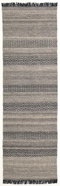 Hedda - Ruskea Matto 80X250 Moderni Käsinkudottu Käytävämatto Vaaleanharmaa/Tummanharmaa (Villa, Intia)