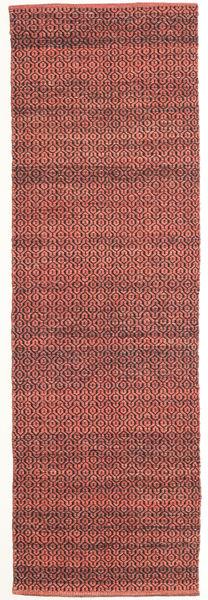 Alva - Dark_Rust/Musta Matto 80X250 Moderni Käsinkudottu Käytävämatto Tummanpunainen/Tummanruskea (Villa, Intia)
