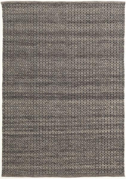 Alva - Ruskea/Musta Matto 140X200 Moderni Käsinkudottu Tummanharmaa/Vaaleanharmaa (Villa, Intia)