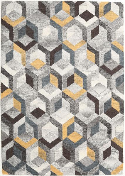 Cube - Harmaa/Kulta Matto 160X230 Moderni Vaaleanharmaa/Tummanbeige (Villa, Intia)