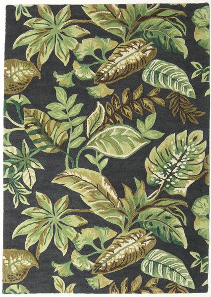 Jungel - Vihreä/Musta Matto 160X230 Moderni Tummanvihreä/Vaaleanvihreä/Tummanharmaa (Villa, Intia)