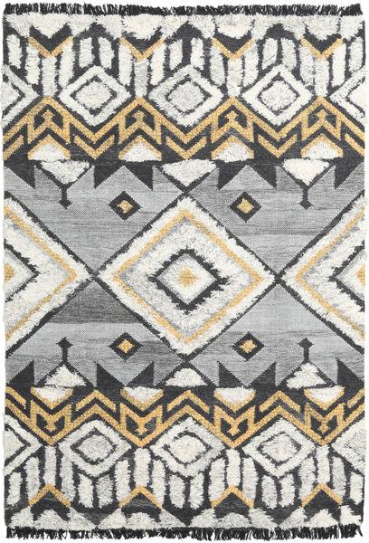Decco Matto 160X230 Moderni Käsinkudottu Vaaleanharmaa/Musta (Villa, Intia)