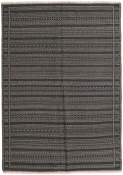 Kelim Matto 159X222 Itämainen Käsinkudottu Tummanharmaa/Musta (Villa, Persia/Iran)