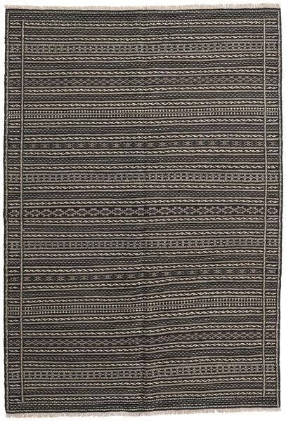 Kelim Matto 159X228 Itämainen Käsinkudottu Tummanharmaa/Musta (Villa, Persia/Iran)