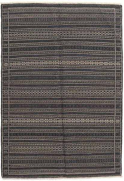 Kelim Matto 158X225 Itämainen Käsinkudottu Tummanharmaa/Musta (Villa, Persia/Iran)