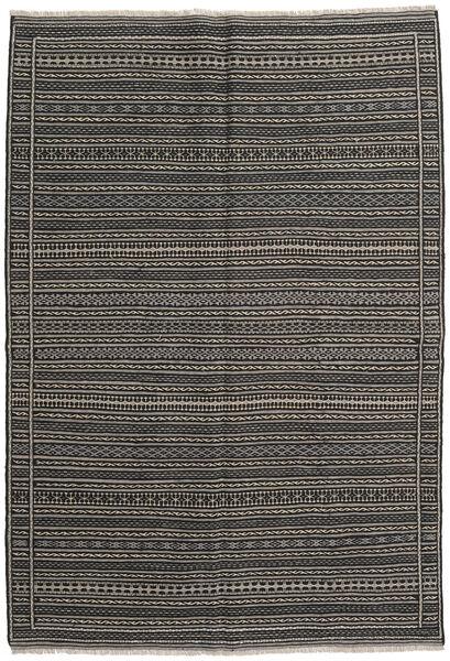 Kelim Matto 161X234 Itämainen Käsinkudottu Musta/Tummanharmaa (Villa, Persia/Iran)