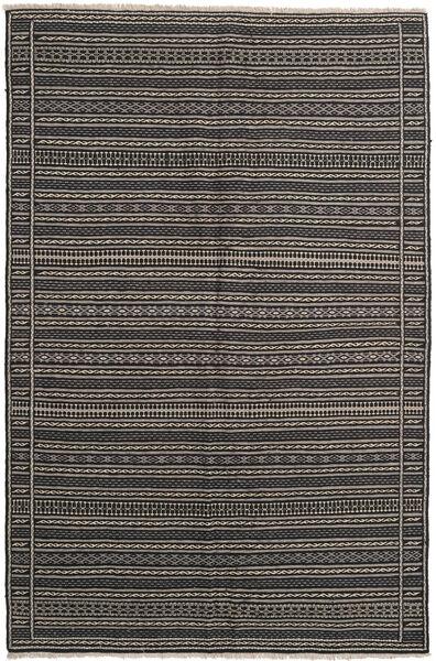 Kelim Matto 155X236 Itämainen Käsinkudottu Tummanharmaa/Musta/Vaaleanharmaa (Villa, Persia/Iran)