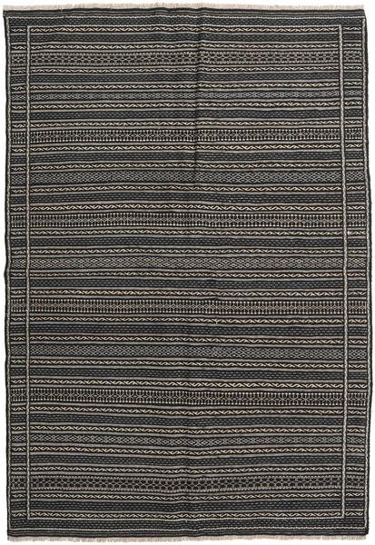 Kelim Persia Matto 160X230 Itämainen Käsinkudottu Tummanharmaa/Musta (Villa, Persia/Iran)
