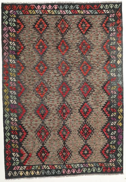 Kelim Afghan Old Style Matto 175X250 Itämainen Käsinkudottu Tummanharmaa/Tummanpunainen (Villa, Afganistan)