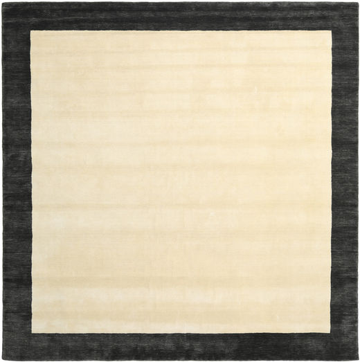 Handloom Frame - Musta/Valkoinen Matto 300X300 Moderni Neliö Beige/Tummanharmaa Isot (Villa, Intia)