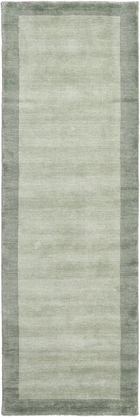 Handloom Frame - Harmaa/Vihreä Matto 80X250 Moderni Käytävämatto Pastellinvihreä/Vaaleanharmaa (Villa, Intia)