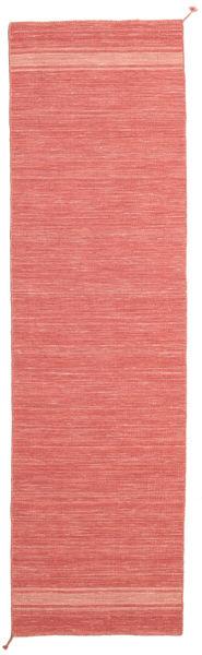 Ernst - Coral/Light_Coral Matto 80X300 Moderni Käsinkudottu Käytävämatto Punainen/Vaaleanpunainen (Villa, Intia)