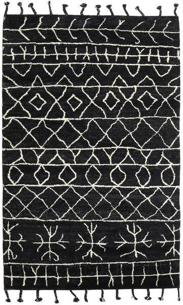 Moss Berber - Musta Matto 180X275 Moderni Käsinsolmittu Musta (Villa, Intia)