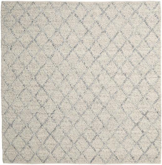 Rut - Hopea/Harmaa Melange Matto 250X250 Moderni Käsinkudottu Neliö Vaaleanharmaa/Tummanbeige Isot (Villa, Intia)