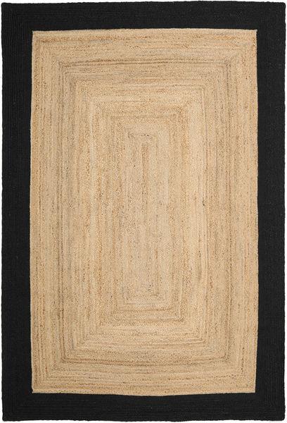 Ulkomatto Frida Frame - Natural/Musta Matto 200X300 Moderni Käsinkudottu Tummanbeige/Musta/Beige (Juuttimatto Intia)