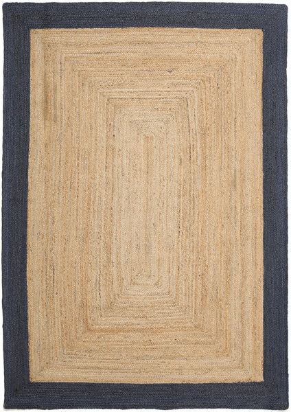 Ulkomatto Frida Frame - Natural/Navy Matto 160X230 Moderni Käsinkudottu Tummanbeige/Musta/Beige (Juuttimatto Intia)