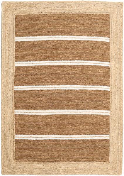 Ulkomatto Frida Stripe - Ruskea Matto 140X200 Moderni Käsinkudottu Beige/Vaaleanruskea (Juuttimatto Intia)