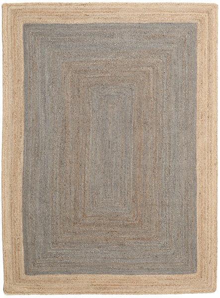 Ulkomatto Frida Frame - Harmaa/Natural Matto 140X200 Moderni Käsinkudottu Vaaleanharmaa/Beige (Juuttimatto Intia)
