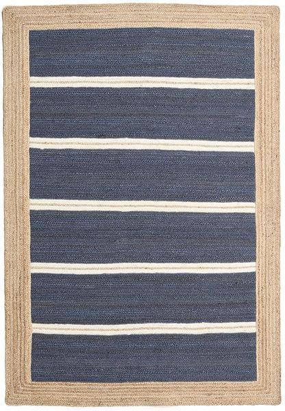 Ulkomatto Frida Stripe - Sininen Matto 140X200 Moderni Käsinkudottu Sininen/Beige (Juuttimatto Intia)