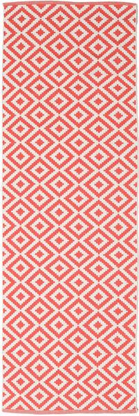 Torun - Coral/Neutral Matto 80X250 Moderni Käsinkudottu Käytävämatto Punainen/Vaaleanpunainen (Puuvilla, Intia)