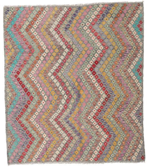 Kelim Afghan Old Style Matto 207X236 Itämainen Käsinkudottu Vaaleanharmaa/Tummanharmaa (Villa, Afganistan)