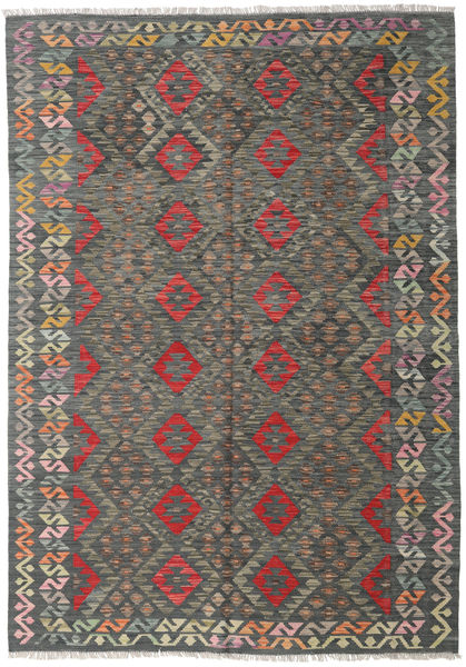 Kelim Afghan Old Style Matto 170X244 Itämainen Käsinkudottu Tummanharmaa/Vaaleanharmaa (Villa, Afganistan)