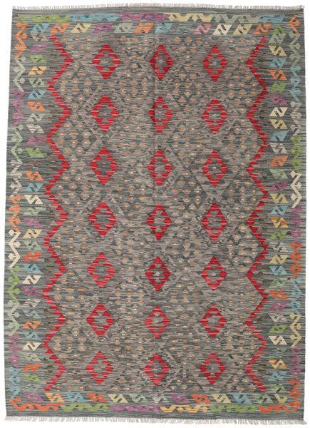 Kelim Afghan Old Style Matto 181X249 Itämainen Käsinkudottu Tummanharmaa/Vaaleanharmaa (Villa, Afganistan)