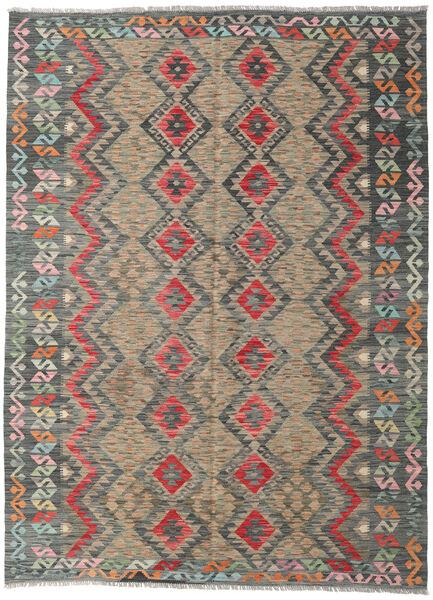 Kelim Afghan Old Style Matto 182X252 Itämainen Käsinkudottu Vaaleanharmaa/Tummanharmaa/Vaaleanruskea (Villa, Afganistan)