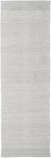Norma - Vihreä Matto 80X350 Moderni Käsinkudottu Käytävämatto Vaaleanharmaa/Valkoinen/Creme (Puuvilla, Intia)