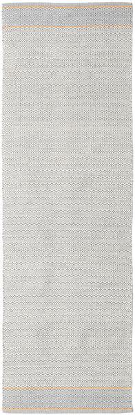 Norma - Keltainen Matto 80X250 Moderni Käsinkudottu Käytävämatto Vaaleanharmaa/Valkoinen/Creme (Puuvilla, Intia)