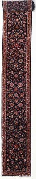 Sarough Matto 80X770 Itämainen Käsinsolmittu Käytävämatto Musta/Tummanpunainen (Villa, Persia/Iran)