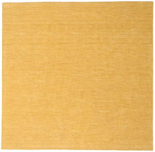 Kelim Loom - Keltainen Matto 250X250 Moderni Käsinkudottu Neliö Vaaleanruskea/Tummanbeige Isot (Villa, Intia)