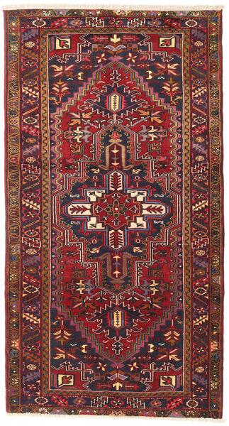 Heriz Matto 115X220 Itämainen Käsinsolmittu Tummanpunainen/Tummanharmaa (Villa, Persia/Iran)