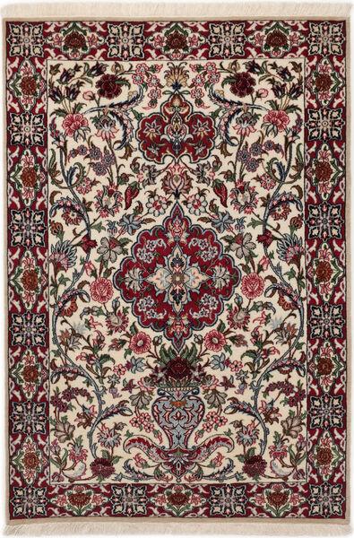 Isfahan Silkkiloimi Matto 83X117 Itämainen Käsinsolmittu Tummanruskea/Vaaleanharmaa (Villa/Silkki, Persia/Iran)