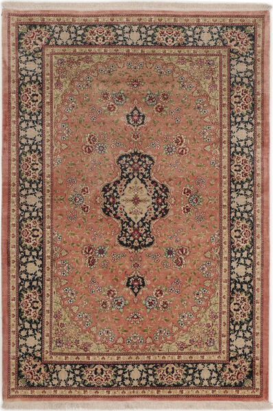 Ghom Silkki Matto 99X149 Itämainen Käsinsolmittu Tummanpunainen/Vaaleanruskea (Silkki, Persia/Iran)
