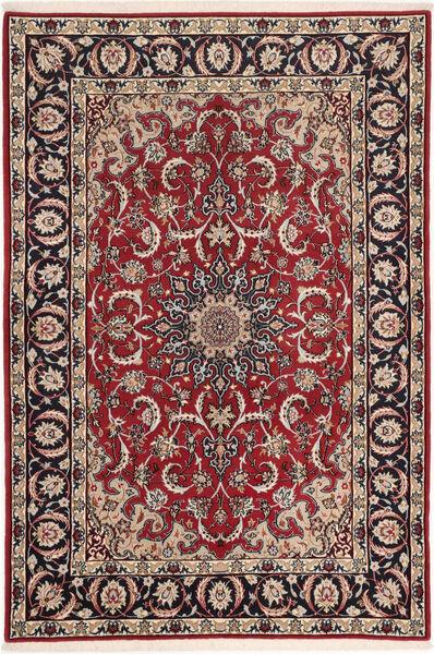 Isfahan Silkkiloimi Matto 110X160 Itämainen Käsinsolmittu Tummanpunainen/Tummanruskea (Villa/Silkki, Persia/Iran)