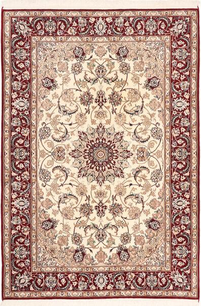Isfahan Silkkiloimi Matto 113X163 Itämainen Käsinsolmittu Tummanpunainen/Beige (Villa/Silkki, Persia/Iran)