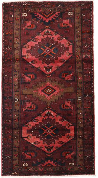 Hamadan Matto 107X207 Itämainen Käsinsolmittu Tummanpunainen/Tummanruskea (Villa, Persia/Iran)