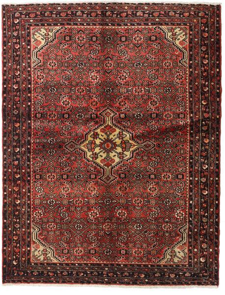 Hosseinabad Matto 148X190 Itämainen Käsinsolmittu Tummanpunainen/Tummanruskea (Villa, Persia/Iran)