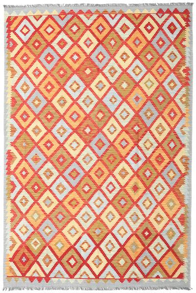 Kelim Afghan Old Style Matto 199X298 Itämainen Käsinkudottu Keltainen/Vaaleanharmaa (Villa, Afganistan)