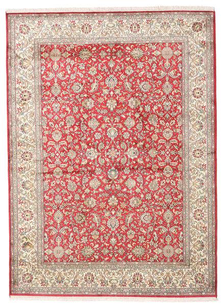 Kashmir 100% Silkki Matto 158X216 Itämainen Käsinsolmittu Beige/Vaaleanharmaa (Silkki, Intia)
