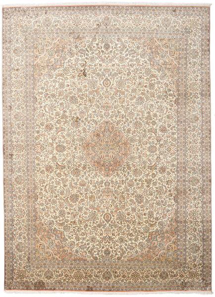 Kashmir 100% Silkki Matto 247X341 Itämainen Käsinsolmittu Vaaleanharmaa/Beige (Silkki, Intia)