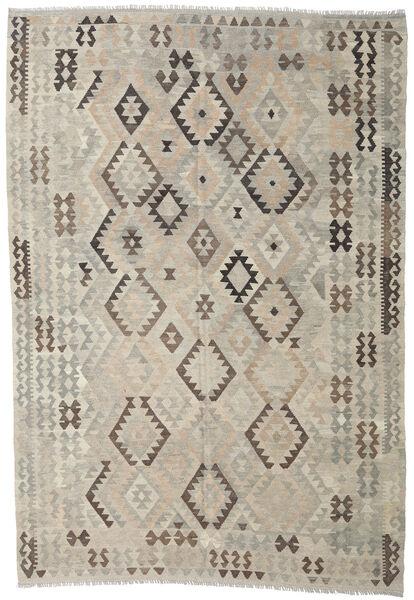 Kelim Afghan Old Style Matto 205X296 Itämainen Käsinkudottu Vaaleanharmaa/Tummanruskea (Villa, Afganistan)