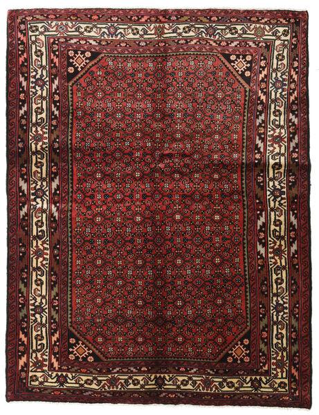 Hosseinabad Matto 154X202 Itämainen Käsinsolmittu Tummanpunainen/Tummanruskea (Villa, Persia/Iran)