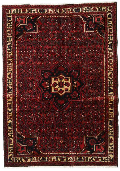Hosseinabad Matto 150X218 Itämainen Käsinsolmittu Tummanpunainen (Villa, Persia/Iran)