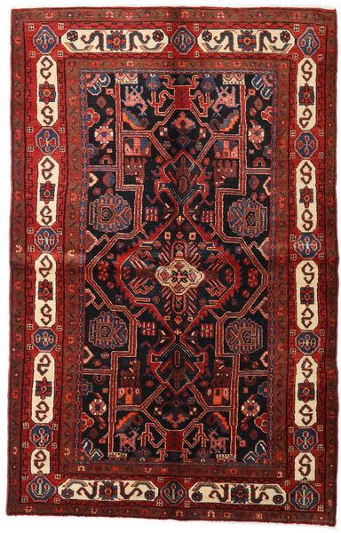 Hamadan Matto 155X246 Itämainen Käsinsolmittu Tummanpunainen/Musta (Villa, Persia/Iran)
