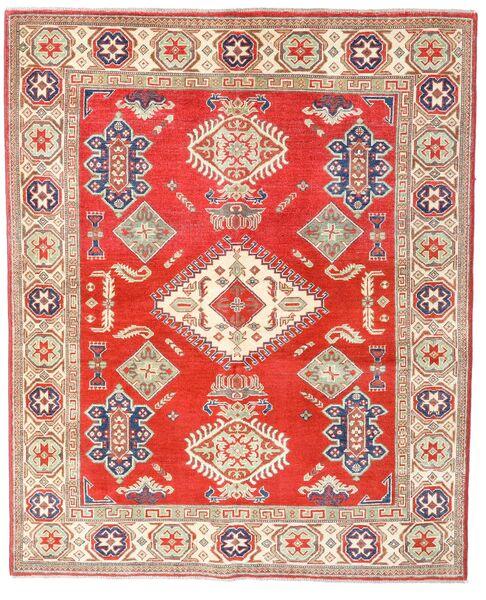 Kazak Matto 157X192 Itämainen Käsinsolmittu Punainen/Beige (Villa, Afganistan)