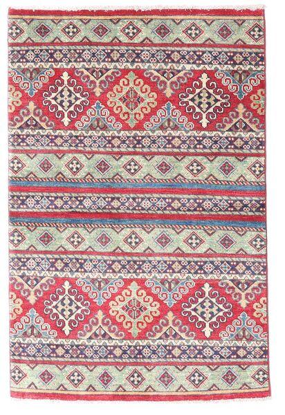Kazak Matto 96X147 Itämainen Käsinsolmittu Violetti/Vaaleanharmaa (Villa, Afganistan)