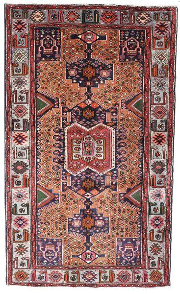 Hamadan Matto 130X222 Itämainen Käsinsolmittu Tummanruskea/Tummanpunainen (Villa, Persia/Iran)